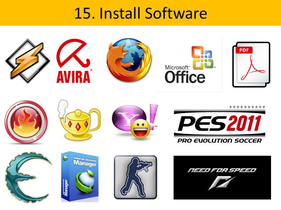 15. Install Software