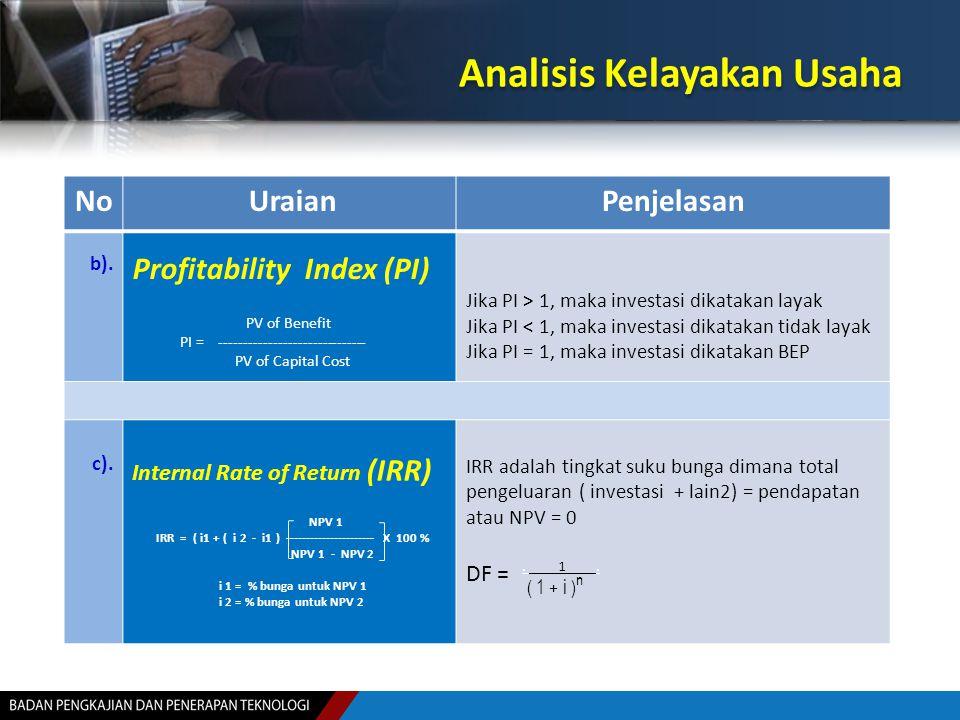 Analisis Kelayakan Usaha No UraianPenjelasan b). Profitability Index (PI) PV of Benefit PI = ------------------------------ PV of Capital Cost Jika PI