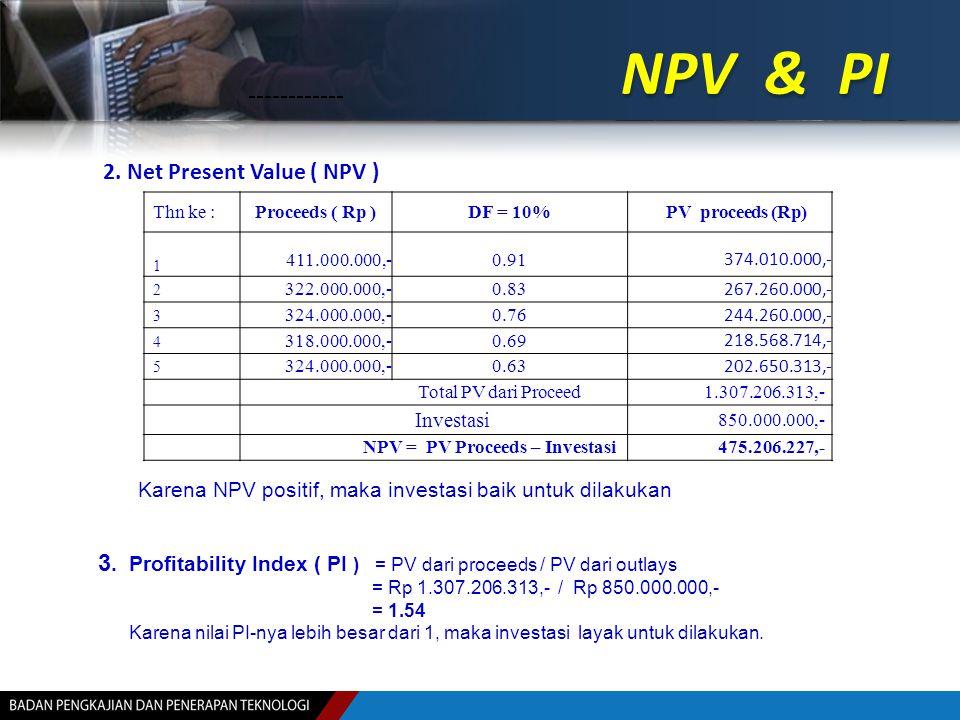 NPV & PI Thn ke :Proceeds ( Rp )DF = 10%PV proceeds (Rp) 1 411.000.000,-0.91 374.010.000,- 2 322.000.000,-0.83 267.260.000,- 3 324.000.000,-0.76 244.2