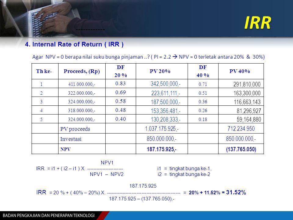 IRR 4. Internal Rate of Return ( IRR ) Th ke-Proceeds, (Rp) DF 20 % PV 20% DF 40 % PV 40% 1411.000.000,- 0.83 342,500,000,- 0.71 291,810,000 2322.000.