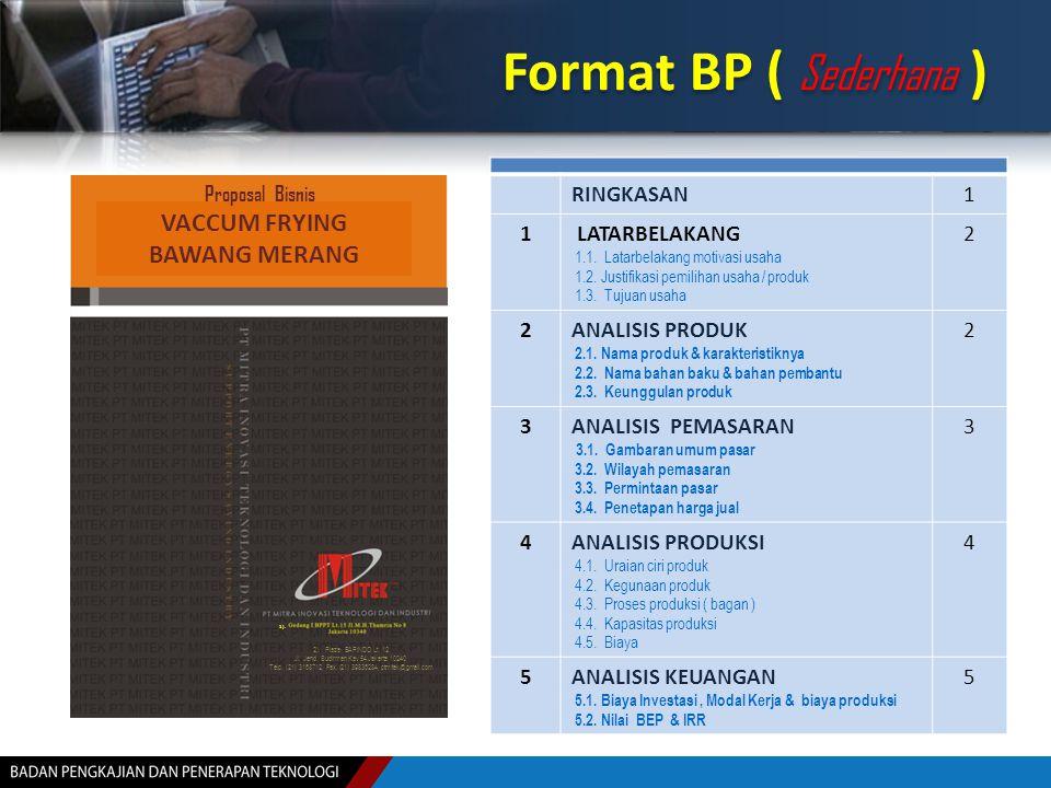 Format BP ( Sederhana ) RINGKASAN1 1 LATARBELAKANG 1.1. Latarbelakang motivasi usaha 1.2. Justifikasi pemilihan usaha / produk 1.3. Tujuan usaha 2 2AN