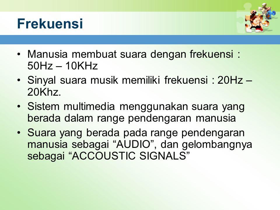 Frekuensi Manusia membuat suara dengan frekuensi : 50Hz – 10KHz Sinyal suara musik memiliki frekuensi : 20Hz – 20Khz. Sistem multimedia menggunakan su