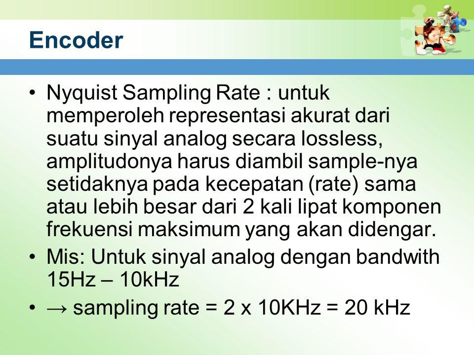 Encoder Nyquist Sampling Rate : untuk memperoleh representasi akurat dari suatu sinyal analog secara lossless, amplitudonya harus diambil sample-nya s