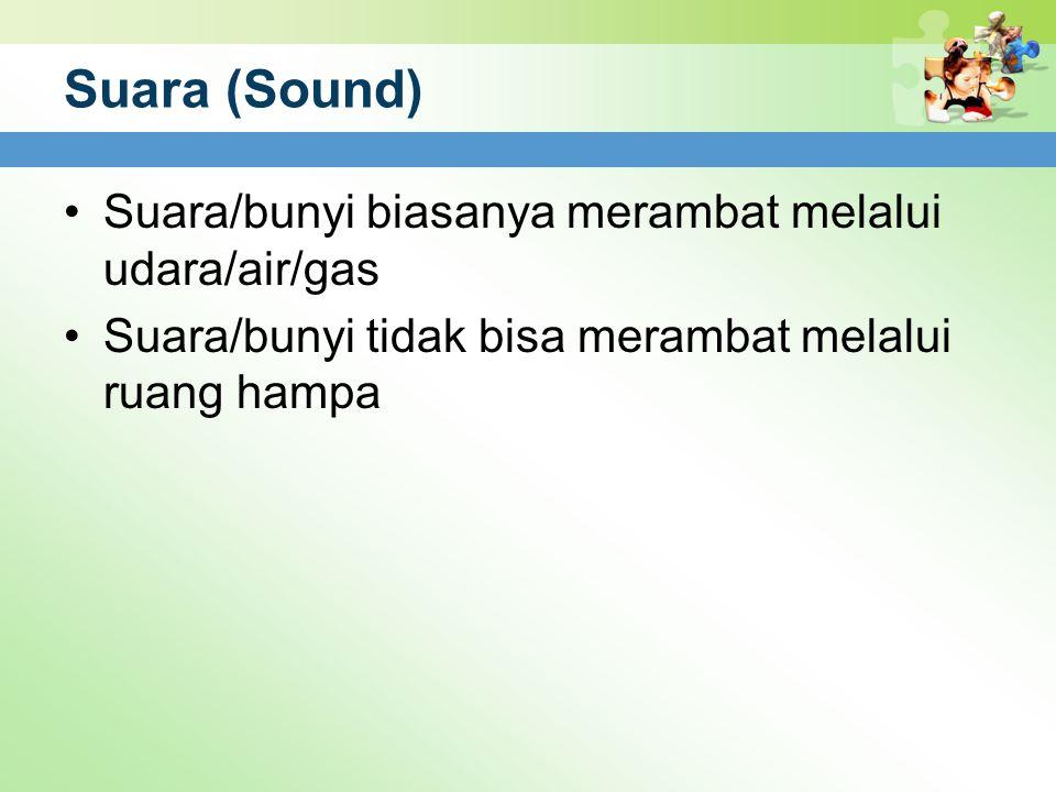 Suara (Sound) Suara/bunyi biasanya merambat melalui udara/air/gas Suara/bunyi tidak bisa merambat melalui ruang hampa