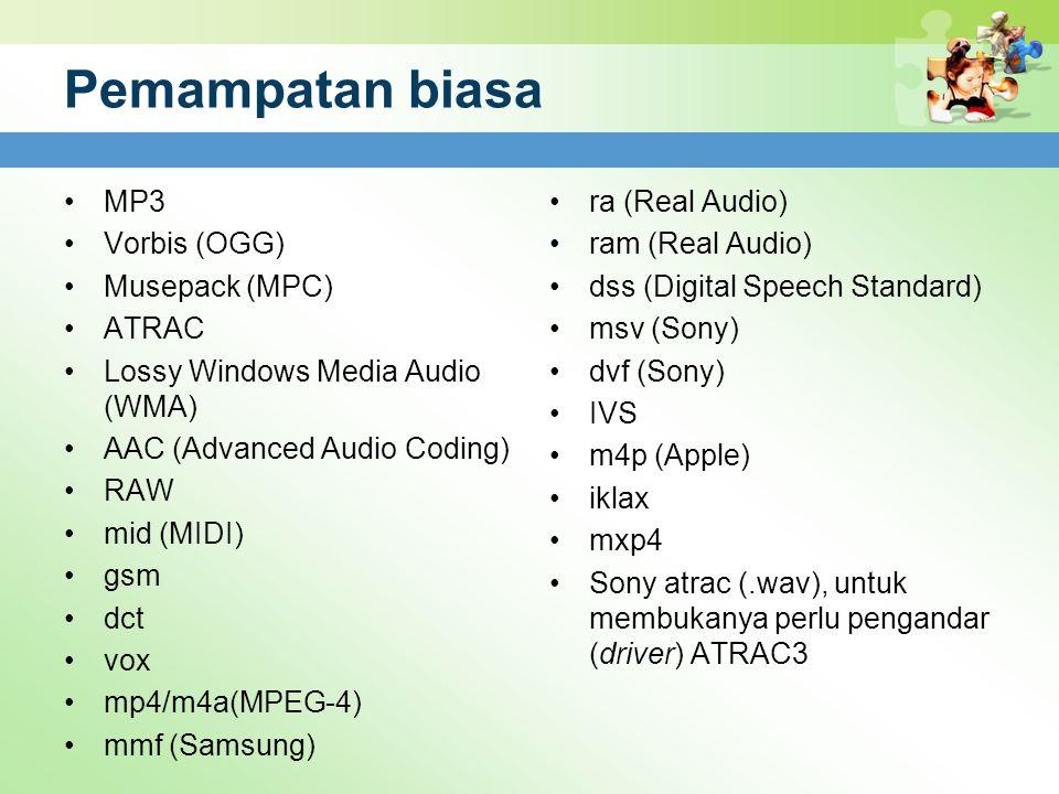 Pemampatan biasa MP3 Vorbis (OGG) Musepack (MPC) ATRAC Lossy Windows Media Audio (WMA) AAC (Advanced Audio Coding) RAW mid (MIDI) gsm dct vox mp4/m4a(