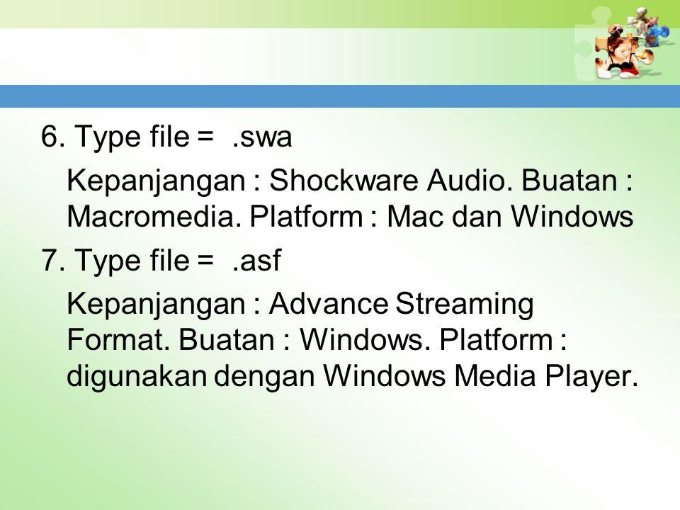 6. Type file =.swa Kepanjangan : Shockware Audio. Buatan : Macromedia. Platform : Mac dan Windows 7. Type file =.asf Kepanjangan : Advance Streaming F