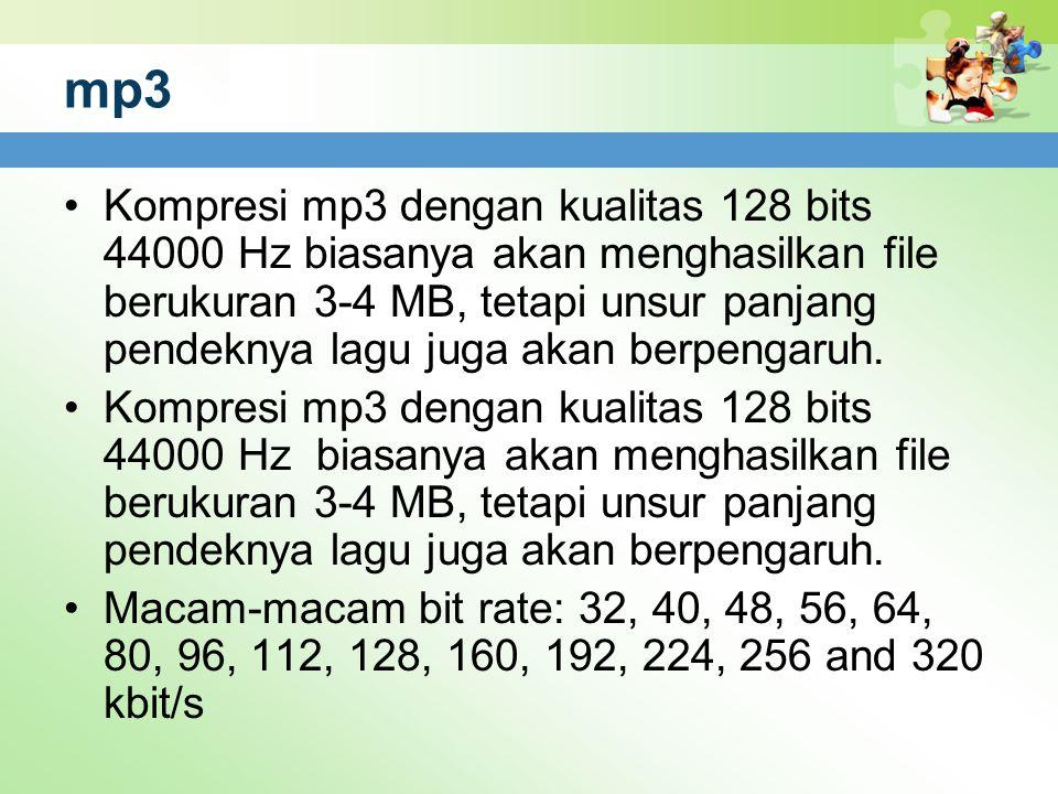 mp3 Kompresi mp3 dengan kualitas 128 bits 44000 Hz biasanya akan menghasilkan file berukuran 3-4 MB, tetapi unsur panjang pendeknya lagu juga akan ber