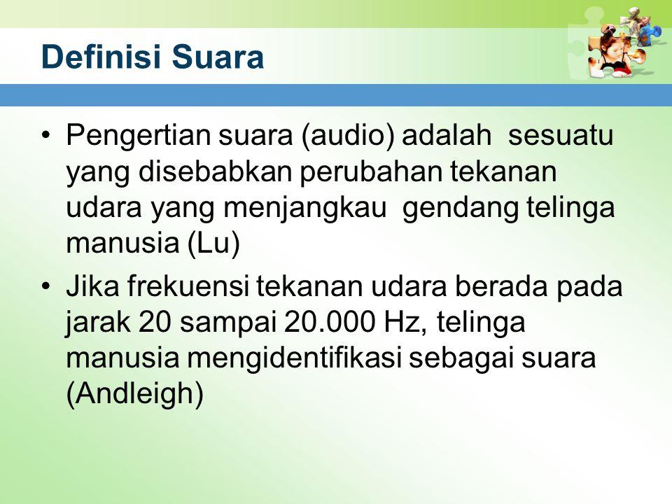 Definisi Suara Pengertian suara (audio) adalah sesuatu yang disebabkan perubahan tekanan udara yang menjangkau gendang telinga manusia (Lu) Jika freku