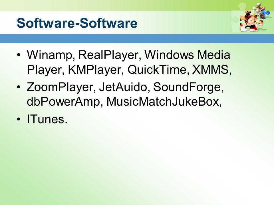 Software-Software Winamp, RealPlayer, Windows Media Player, KMPlayer, QuickTime, XMMS, ZoomPlayer, JetAuido, SoundForge, dbPowerAmp, MusicMatchJukeBox