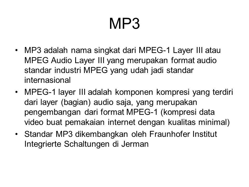 MP3 MP3 adalah nama singkat dari MPEG-1 Layer III atau MPEG Audio Layer III yang merupakan format audio standar industri MPEG yang udah jadi standar i