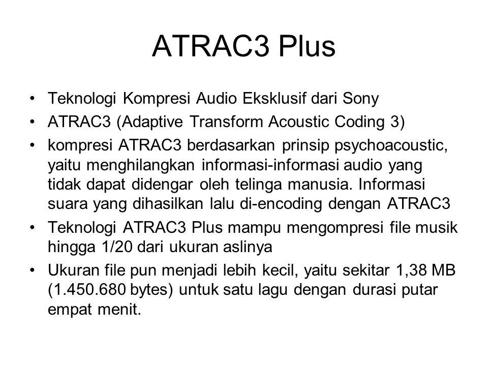 ATRAC3 Plus Teknologi Kompresi Audio Eksklusif dari Sony ATRAC3 (Adaptive Transform Acoustic Coding 3) kompresi ATRAC3 berdasarkan prinsip psychoacous