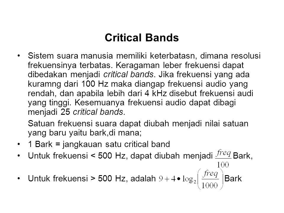 Critical Bands Sistem suara manusia memiliki keterbatasn, dimana resolusi frekuensinya terbatas. Keragaman leber frekuensi dapat dibedakan menjadi cri