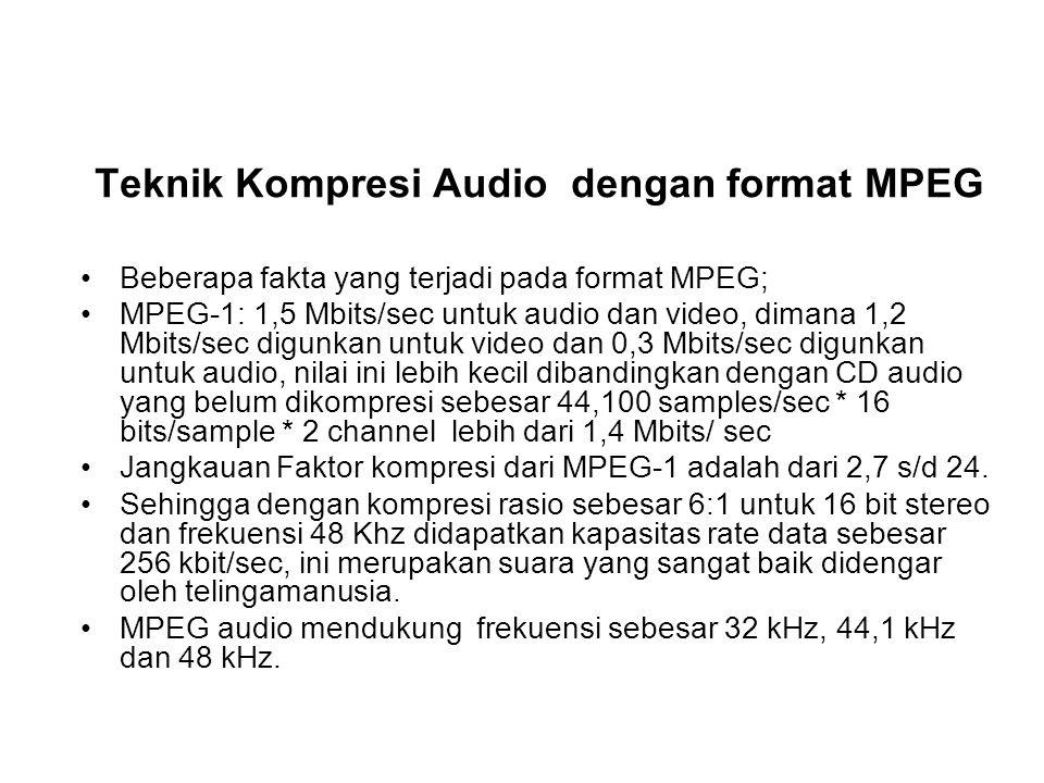 Teknik Kompresi Audio dengan format MPEG Beberapa fakta yang terjadi pada format MPEG; MPEG-1: 1,5 Mbits/sec untuk audio dan video, dimana 1,2 Mbits/s