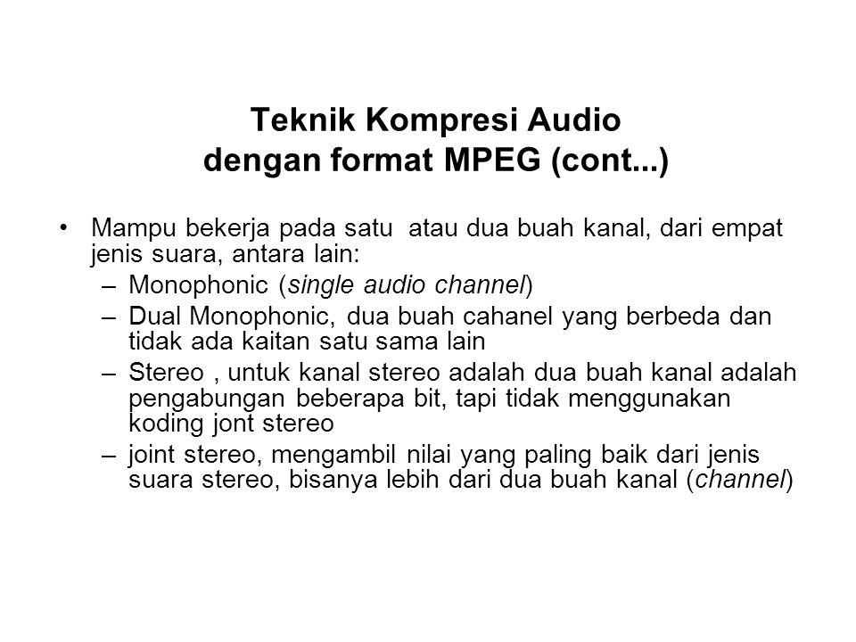 Teknik Kompresi Audio dengan format MPEG (cont...) Mampu bekerja pada satu atau dua buah kanal, dari empat jenis suara, antara lain: –Monophonic (sing