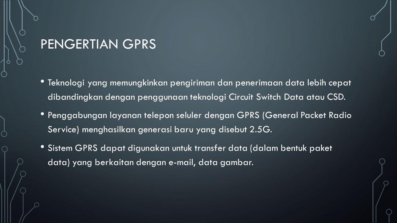 PENGERTIAN GPRS Teknologi yang memungkinkan pengiriman dan penerimaan data lebih cepat dibandingkan dengan penggunaan teknologi Circuit Switch Data at