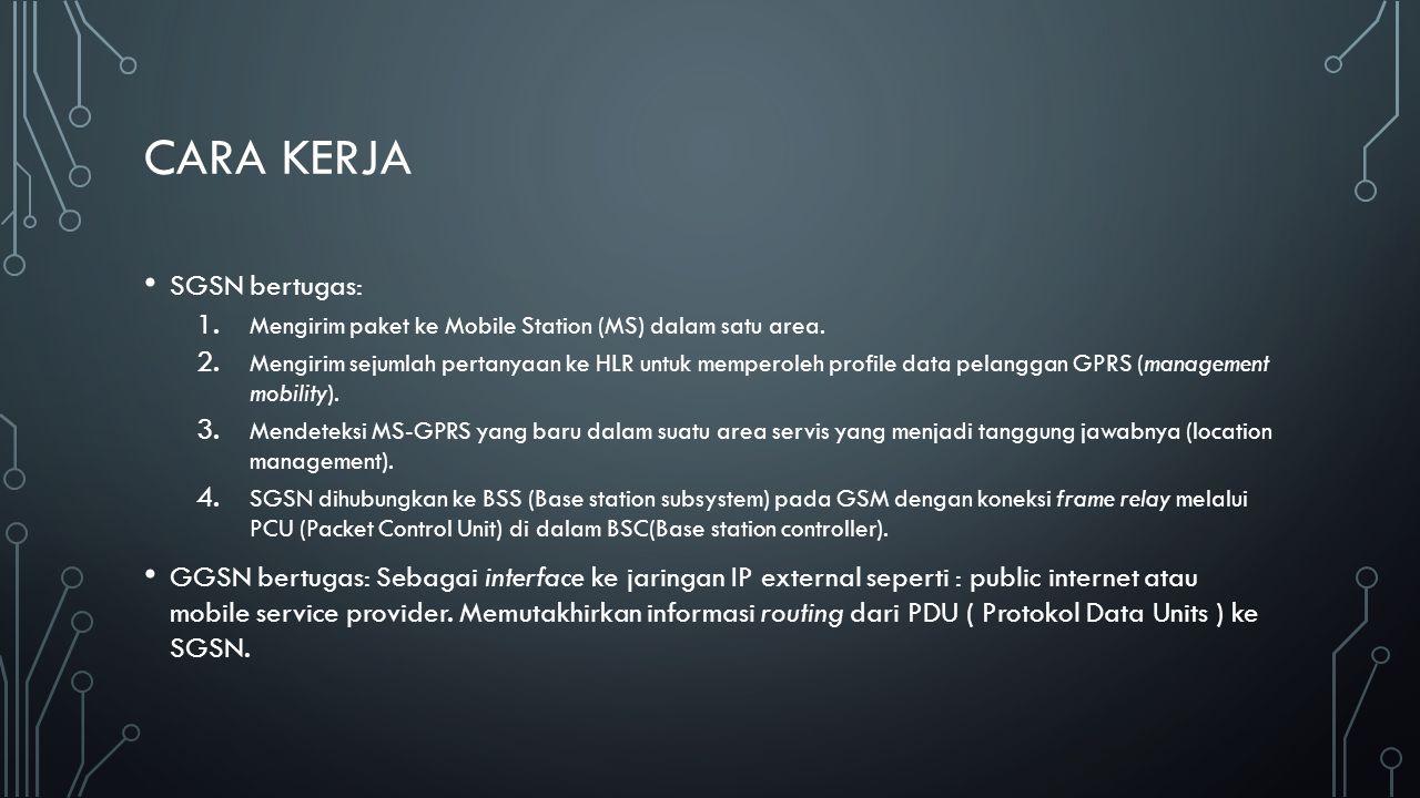 CARA KERJA SGSN bertugas: 1. Mengirim paket ke Mobile Station (MS) dalam satu area. 2. Mengirim sejumlah pertanyaan ke HLR untuk memperoleh profile da
