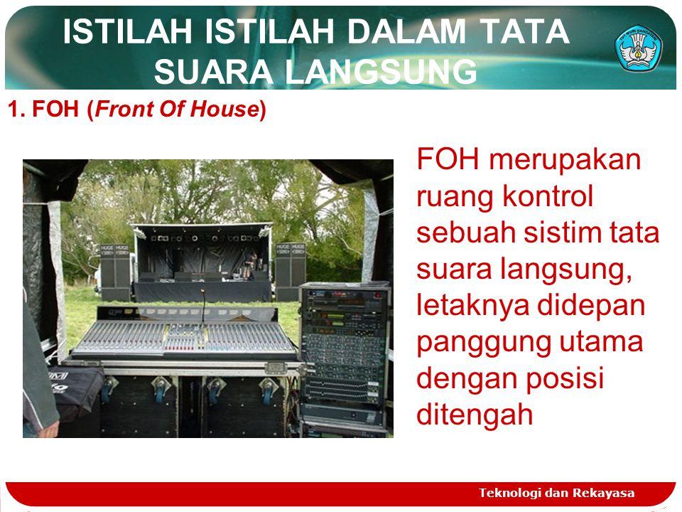ISTILAH ISTILAH DALAM TATA SUARA LANGSUNG Teknologi dan Rekayasa 1. FOH (Front Of House) FOH merupakan ruang kontrol sebuah sistim tata suara langsung