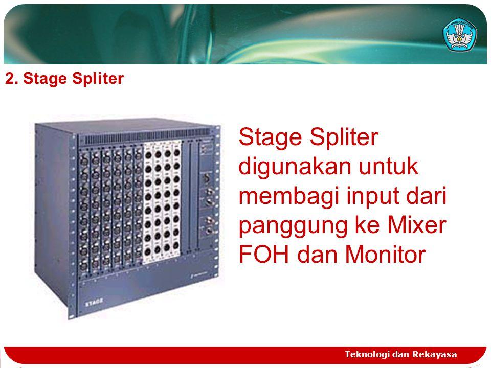Teknologi dan Rekayasa 2. Stage Spliter Stage Spliter digunakan untuk membagi input dari panggung ke Mixer FOH dan Monitor