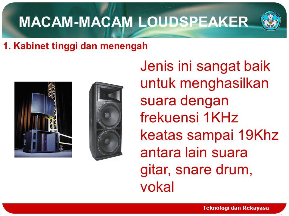 MACAM-MACAM LOUDSPEAKER Teknologi dan Rekayasa 1. Kabinet tinggi dan menengah Jenis ini sangat baik untuk menghasilkan suara dengan frekuensi 1KHz kea