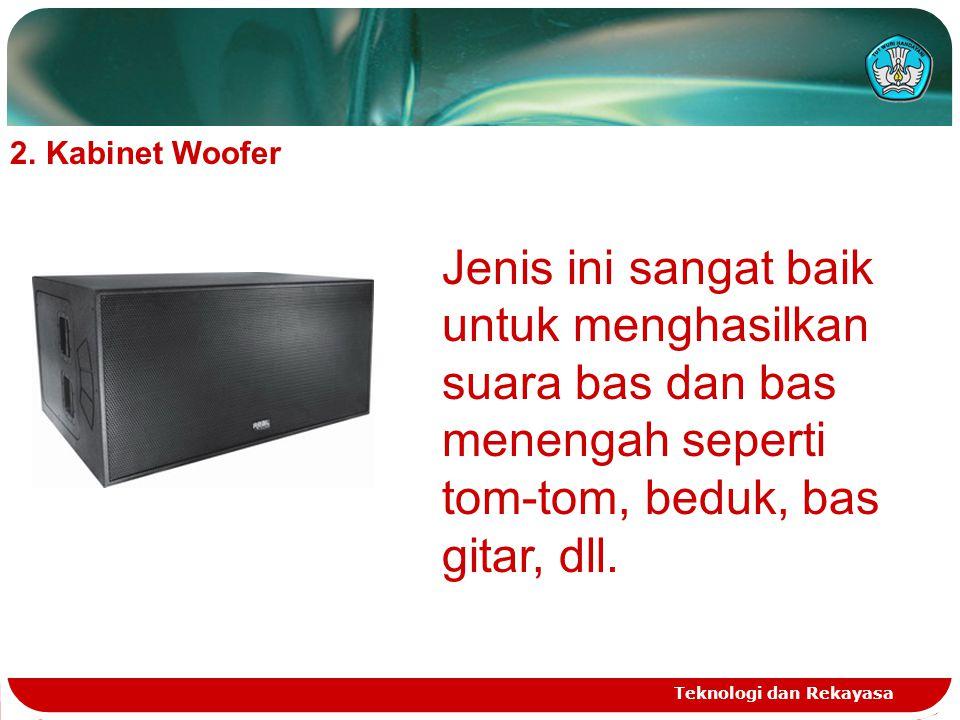 Teknologi dan Rekayasa 2.Kabinet Woofer Jenis ini sangat baik untuk menghasilkan suara bas dan bas menengah seperti tom-tom, beduk, bas gitar, dll.