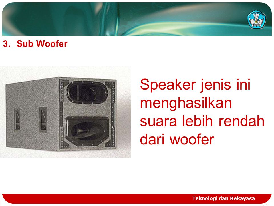Teknologi dan Rekayasa 3.Sub Woofer Speaker jenis ini menghasilkan suara lebih rendah dari woofer