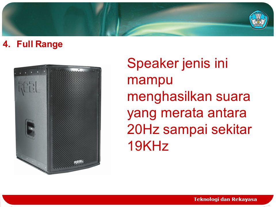 Teknologi dan Rekayasa 4.Full Range Speaker jenis ini mampu menghasilkan suara yang merata antara 20Hz sampai sekitar 19KHz