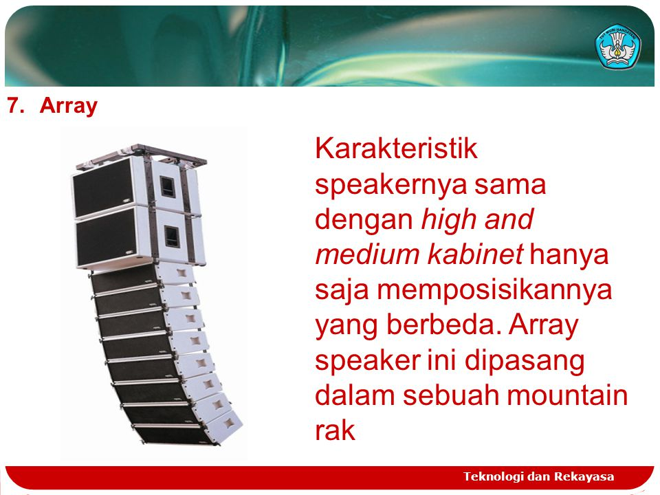 Teknologi dan Rekayasa 7.Array Karakteristik speakernya sama dengan high and medium kabinet hanya saja memposisikannya yang berbeda. Array speaker ini