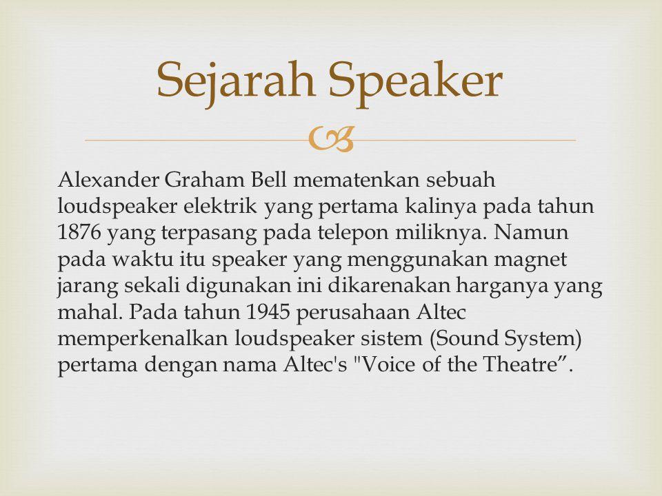  Alexander Graham Bell mematenkan sebuah loudspeaker elektrik yang pertama kalinya pada tahun 1876 yang terpasang pada telepon miliknya. Namun pada w