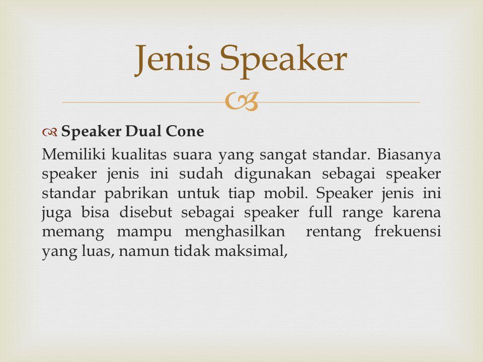   Speaker Dual Cone Memiliki kualitas suara yang sangat standar. Biasanya speaker jenis ini sudah digunakan sebagai speaker standar pabrikan untuk t