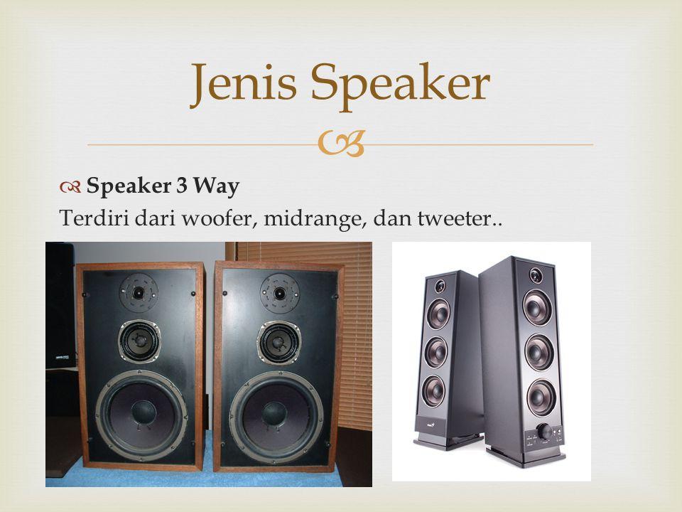   Speaker 3 Way Terdiri dari woofer, midrange, dan tweeter.. Jenis Speaker