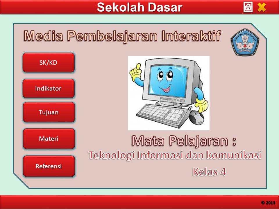 Sekolah Dasar SK/KD Indikator Tujuan Materi Referensi © 2013