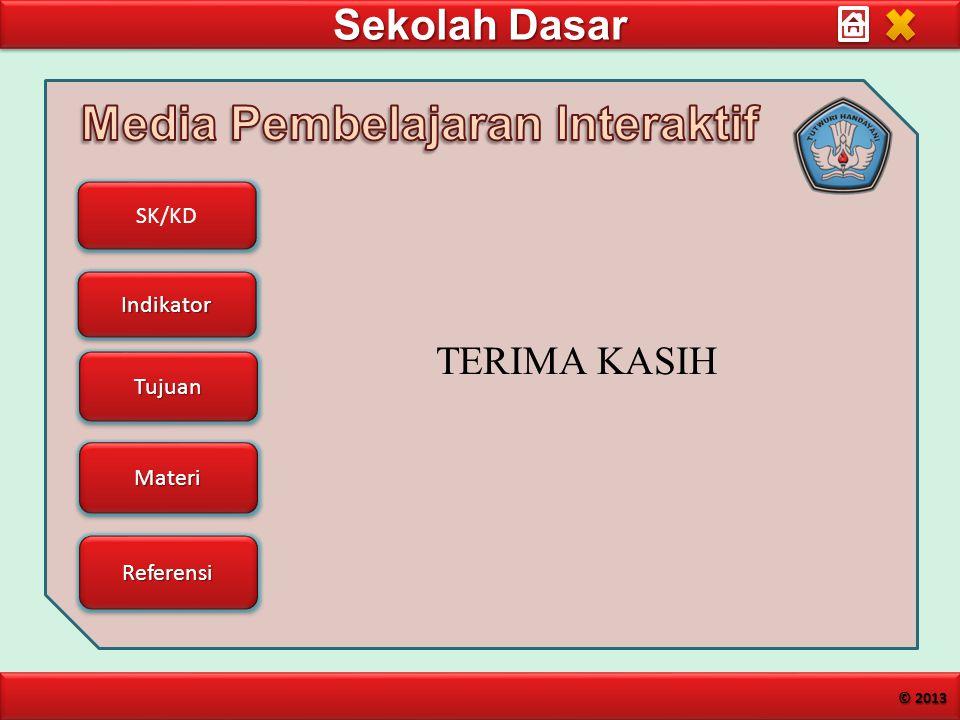 Sekolah Dasar SK/KD Indikator Tujuan Materi Referensi © 2013 TERIMA KASIH