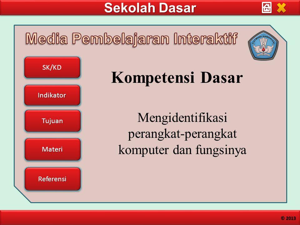 Sekolah Dasar SK/KD Indikator Tujuan Materi Referensi © 2013 Mengidentifikasi perangkat-perangkat komputer dan fungsinya Kompetensi Dasar