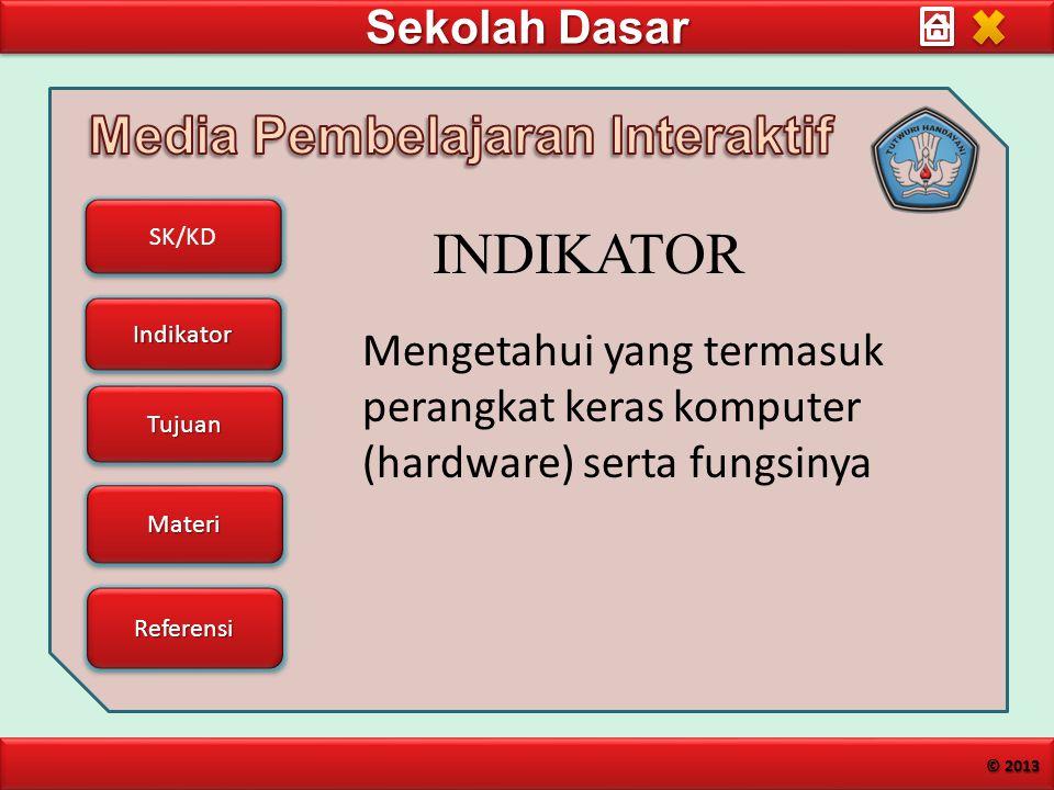 Sekolah Dasar SK/KD Indikator Tujuan Materi Referensi © 2013 Mengetahui yang termasuk perangkat keras komputer (hardware) serta fungsinya INDIKATOR