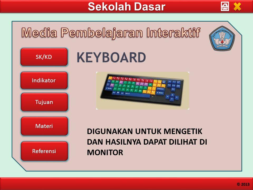 Sekolah Dasar SK/KD Indikator Tujuan Materi Referensi © 2013 KEYBOARD DIGUNAKAN UNTUK MENGETIK DAN HASILNYA DAPAT DILIHAT DI MONITOR