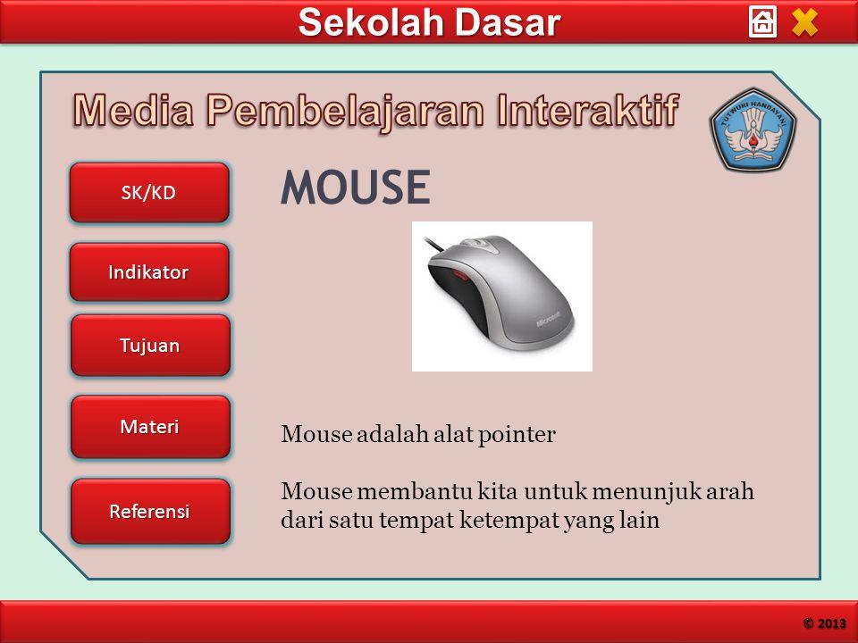 Sekolah Dasar SK/KD Indikator Tujuan Materi Referensi © 2013 MOUSE Mouse adalah alat pointer Mouse membantu kita untuk menunjuk arah dari satu tempat ketempat yang lain