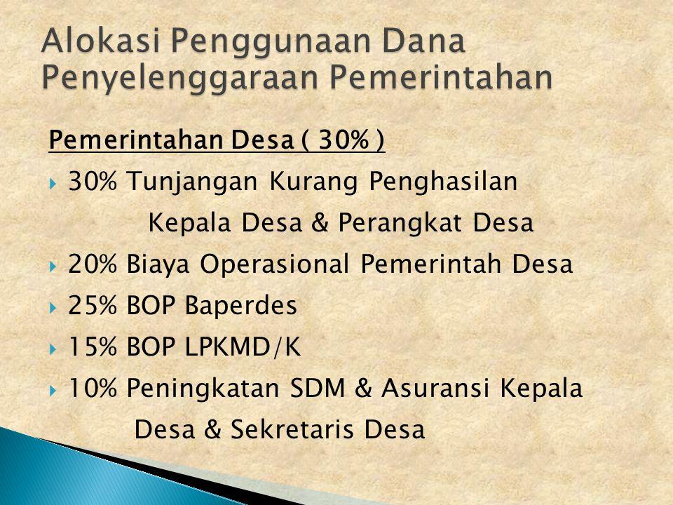 Tahap pertama 50 %  Tahap kedua 25 %  Tahap ketiga 25 % Pengajuan dapat dilakukan jika :  APBDs telah dituangkan dalam Peraturan Desa  Telah diprogramkan