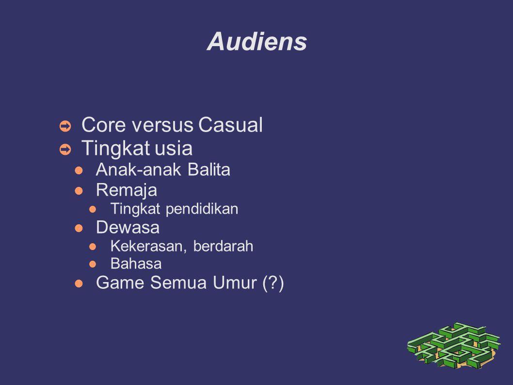 Audiens ➲ Core versus Casual ➲ Tingkat usia Anak-anak Balita Remaja Tingkat pendidikan Dewasa Kekerasan, berdarah Bahasa Game Semua Umur (?)