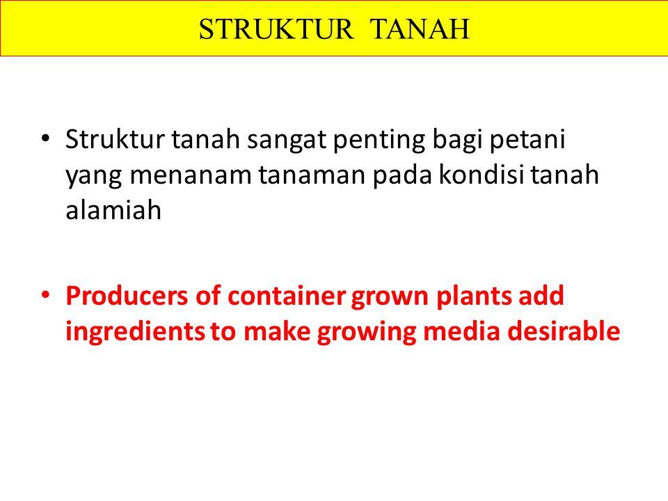 Struktur tanah sangat penting bagi petani yang menanam tanaman pada kondisi tanah alamiah Producers of container grown plants add ingredients to make growing media desirable STRUKTUR TANAH