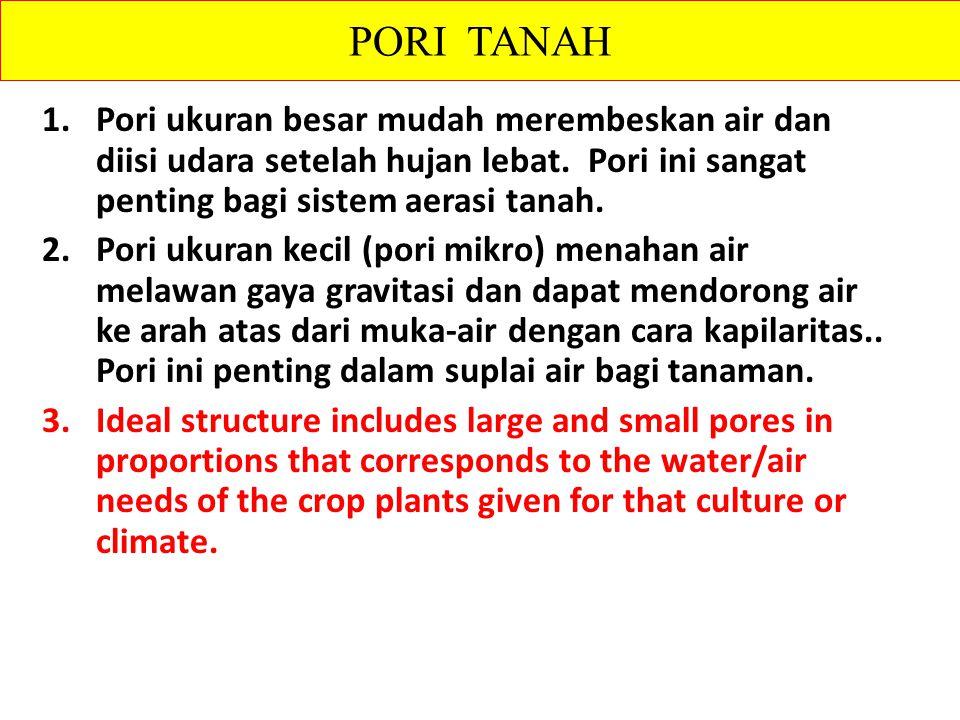 1.Pori ukuran besar mudah merembeskan air dan diisi udara setelah hujan lebat.