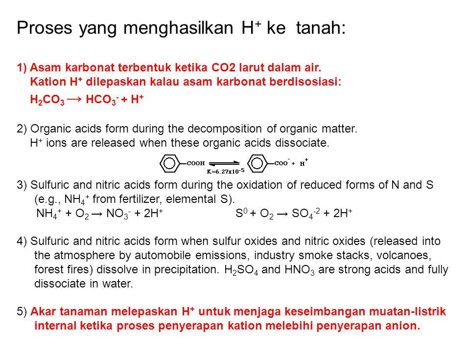 Proses yang menghasilkan H + ke tanah: 1) Asam karbonat terbentuk ketika CO2 larut dalam air. Kation H + dilepaskan kalau asam karbonat berdisosiasi: