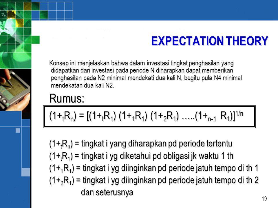 19 EXPECTATION THEORY Konsep ini menjelaskan bahwa dalam investasi tingkat penghasilan yang didapatkan dari investasi pada periode N diharapkan dapat memberikan penghasilan pada N2 minimal mendekati dua kali N, begitu pula N4 minimal mendekatan dua kali N2.