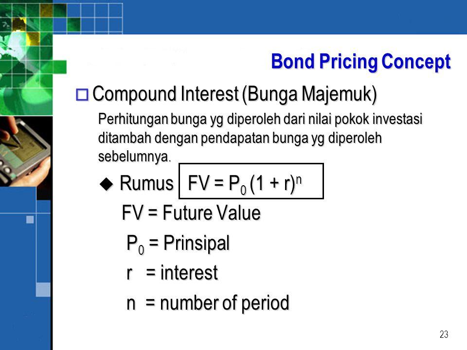 23 Bond Pricing Concept o Compound Interest (Bunga Majemuk) Perhitungan bunga yg diperoleh dari nilai pokok investasi ditambah dengan pendapatan bunga yg diperoleh sebelumnya.