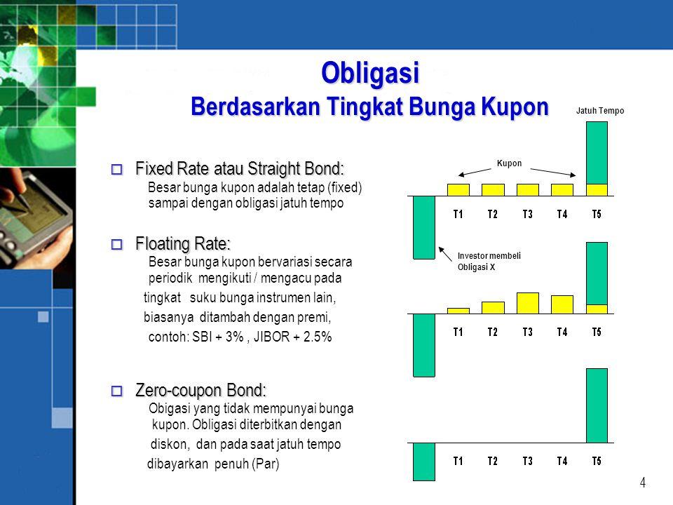 4 Obligasi Berdasarkan Tingkat Bunga Kupon o Fixed Rate atau Straight Bond: o Fixed Rate atau Straight Bond: Besar bunga kupon adalah tetap (fixed) sampai dengan obligasi jatuh tempo o Floating Rate: o Floating Rate: Besar bunga kupon bervariasi secara periodik mengikuti / mengacu pada tingkat suku bunga instrumen lain, biasanya ditambah dengan premi, contoh: SBI + 3%, JIBOR + 2.5% o Zero-coupon Bond: o Zero-coupon Bond: Obigasi yang tidak mempunyai bunga kupon.