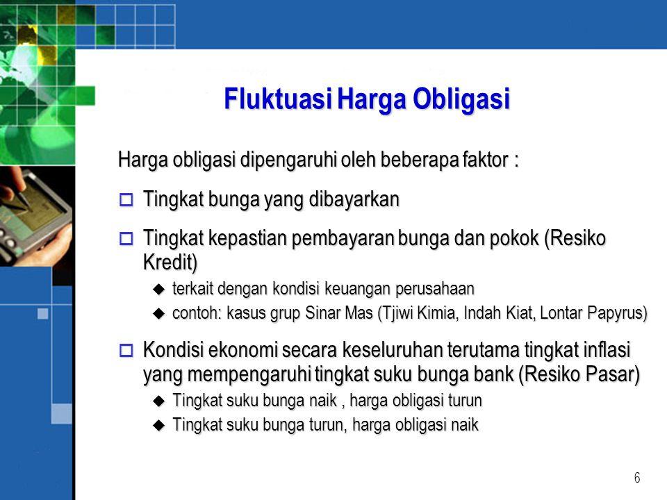 17 ILUSTRASI 1 o Obligasi konversi yang mempunyai nilai nominal Rp 1.000,- dengan harga konversi Rp 50,- ditawarkan dengan harga pasar Rp 1.230,-.
