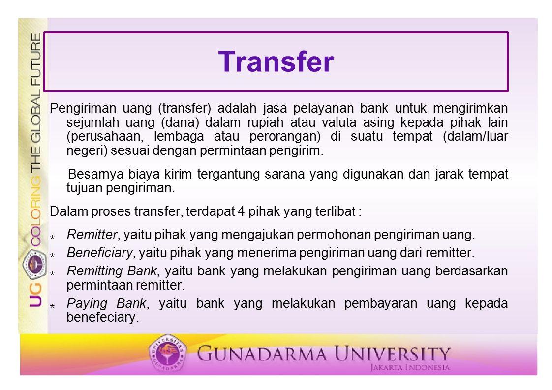 Transfer Pengiriman uang (transfer) adalah jasa pelayanan bank untuk mengirimkan sejumlah uang (dana) dalam rupiah atau valuta asing kepada pihak lain
