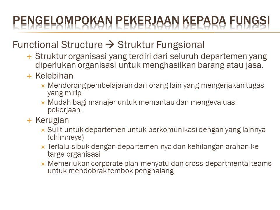 Functional Structure  Struktur Fungsional  Struktur organisasi yang terdiri dari seluruh departemen yang diperlukan organisasi untuk menghasilkan ba
