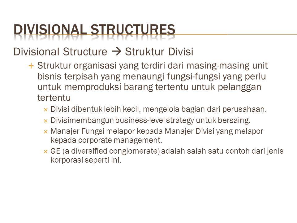 Divisional Structure  Struktur Divisi  Struktur organisasi yang terdiri dari masing-masing unit bisnis terpisah yang menaungi fungsi-fungsi yang per