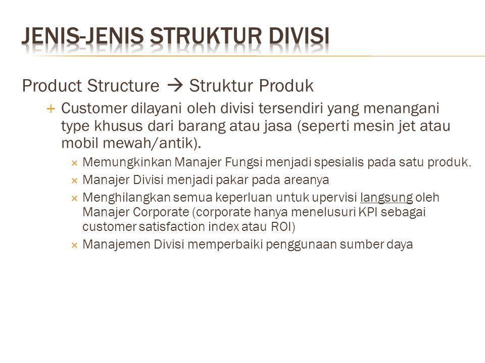 Product Structure  Struktur Produk  Customer dilayani oleh divisi tersendiri yang menangani type khusus dari barang atau jasa (seperti mesin jet ata