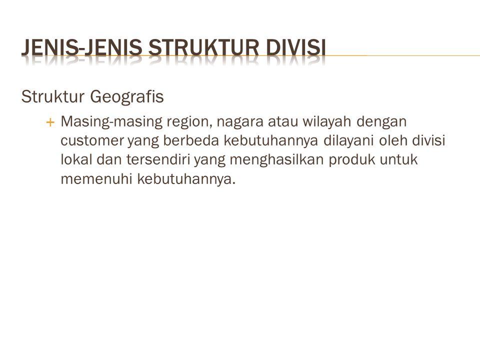 Struktur Geografis  Masing-masing region, nagara atau wilayah dengan customer yang berbeda kebutuhannya dilayani oleh divisi lokal dan tersendiri yan